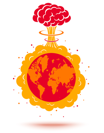 Vector illustration of a bomb and planet Earth. Planet Earth and atomic bomb. World crisis. Illustration