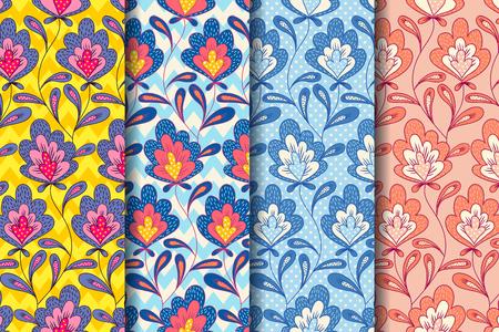 Vector set vintage motifs floraux avec des fleurs abstraites. Modèle floral vintage.