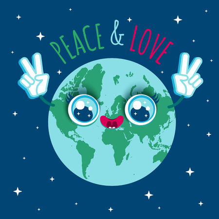 Vector illustration of a planet Earth in kawaii style. Cartoon planet Earth with text Peace and Love. Illustration