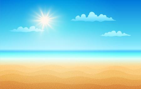 Vector illustration of a empty tropical beach in summer day. Tropical beach in sunny day.