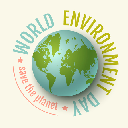 Vector vintage poster for World Environment day. World environment day. We love our planet.