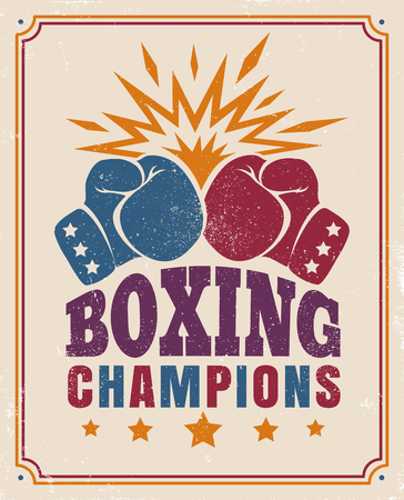 Vector vintage poster for a boxing with two gloves on old paper Illustration