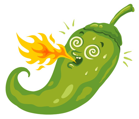 Vector illustration of a spicy chili pepper with flame. Cartoon jalapeno for mexican food.