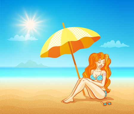 Vector illustration of beautiful girl on the tropical beach.