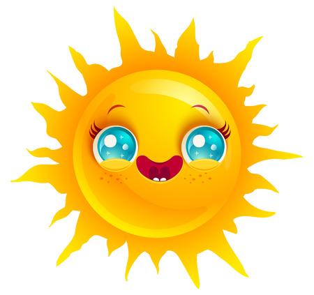 beach sunset: Vector cute sun in kawaii style. Funny sun with smile.