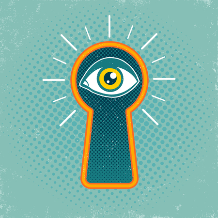 peep: Vintage vector illustration of a keyhole and eye on old background.