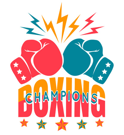 Vector vintage sport logo for boxing with gloves. Boxing champions.