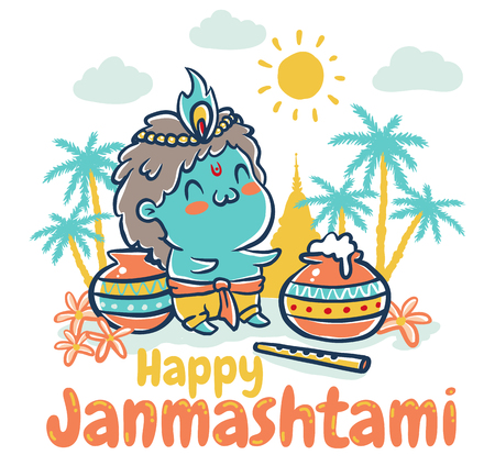 radha: Vector illustration in kawaii style for Krishna Janmashtami. Little Krishna.