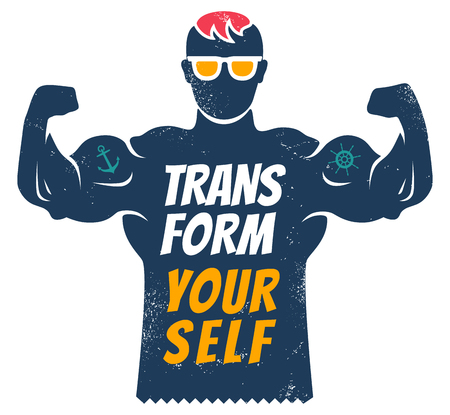 Vintage vector poster with bodybuilder for fitness motivation. Transform yourself.