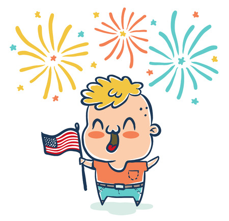 Vector illustration of a boy with flaf USA for 4th july . American independence day. Illustration