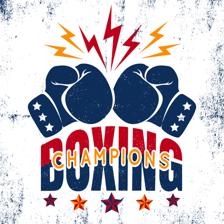 Vector vintage sport logo for boxing with gloves and stars. Boxing champions. Illustration
