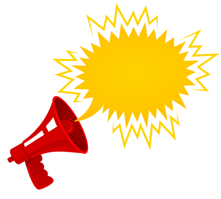 Vector vintage poster with red retro megaphone. Retro megaphone.
