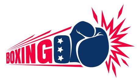Vector logo de la vendimia para un boxeo con guante. Logotipo de la vendimia para el boxeo.