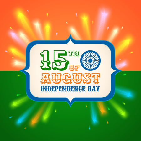 Vector poster for India independence day with fireworks. Banner India independence day. Illustration