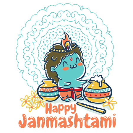 Vector illustration in kawaii style for Krishna Janmashtami with mandala. Little Krishna.