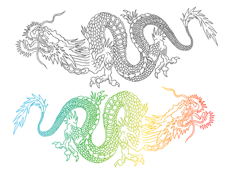 Vector illustratie van een Chinese draken. Kleurrijke en zwarte Chinese draken. Stock Illustratie
