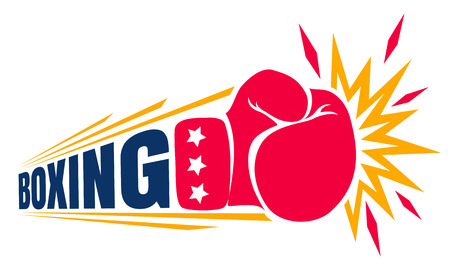 Vector vintage logo for a boxing with glove. Vintage logo for boxing. Çizim