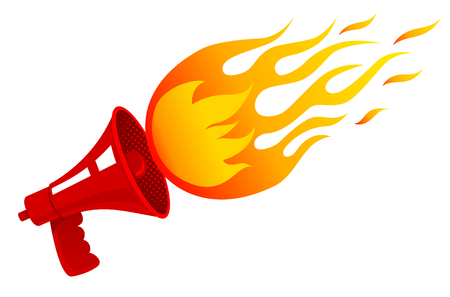Vector vintage poster with red retro megaphone with fire. Red vintage megaphone and flame