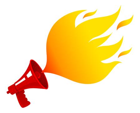 ベクトル火が付いて赤いレトロなメガホンでビンテージのアイコン。赤のビンテージ メガホンとバブルのような炎