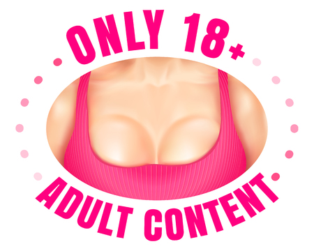 Vector web banner for adult content. Vector emblem adults only. Illusztráció