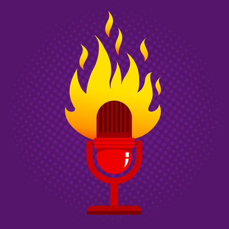 Vintage vector illustration of retro microphone in fire. Red microphone with flame on halftone background.