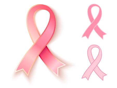 Vector set pink ribbons. Vector 3D and flat pink ribbons. Illustration