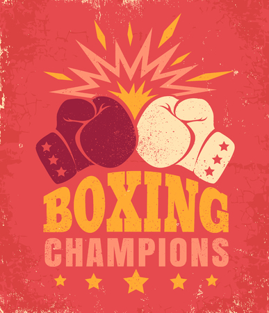 Vector vintage poster for a boxing with two gloves. Emblem for boxing on old paper background. Illustration