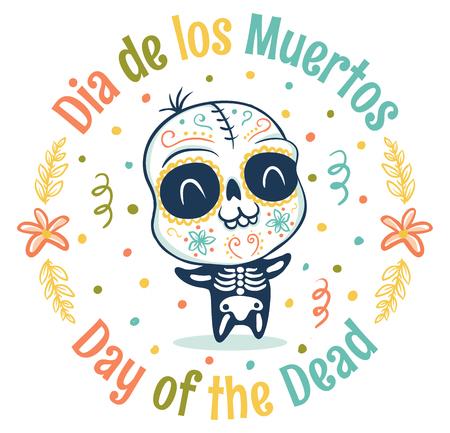 Vector  kid in skeleton costume for Dead day. Dia de los Muertos. Vectores