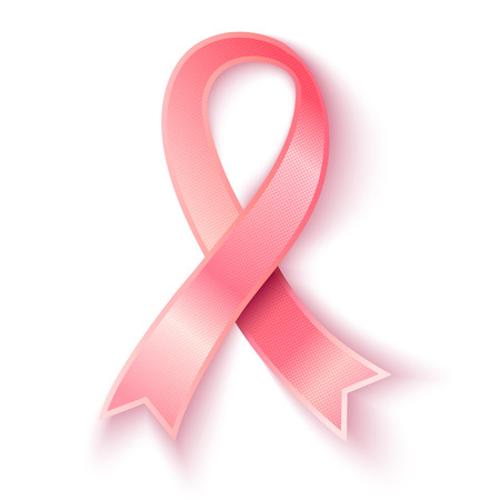 Vector pink ribbon. Vector 3D pink ribbon with shadow.