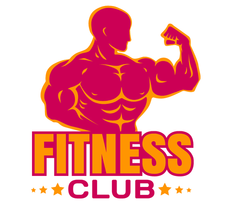 Vector logo for bodybuilding. Emblem with bodybuilder for fitness club.