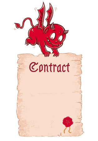Vector cute devil kid with old paper. Vector Devils contract. Illustration