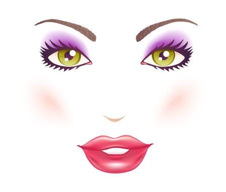 Illustration vectorielle du visage d'une femme avec le maquillage. Yeux verts et les lèvres. Banque d'images - 88070208