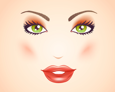 make up model: Vector illustration of a womans face with makeup. Green eyes and lips.