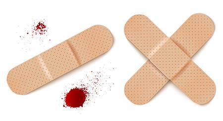Vector set illustrations of bandage. Vector set aid bandages and blood drops. Illustration