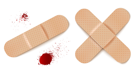 Vector set illustrations of bandage. Vector set aid bandages and blood drops. Stock Illustratie