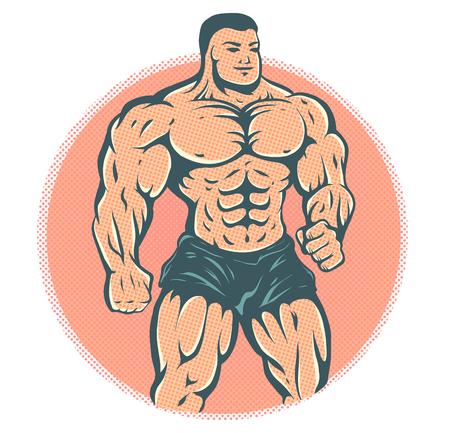 Vector illustration of a bodybuilder. Vintage cartoon of a bodybuilder is on halftone background. Illustration