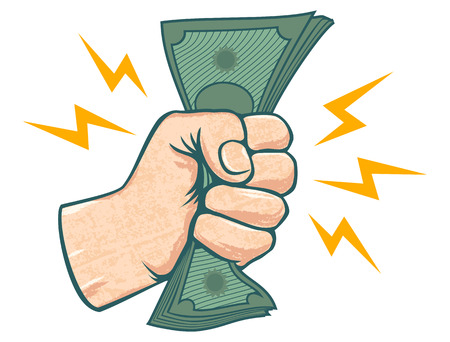 Vector illustration of a fist with money. Hand and money. Illustration