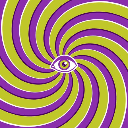 Vector color hypnotic retro poster with green eye. Vintage vector optical illusion with eye.