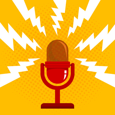 Vintage vector illustration of retro microphone and loud sound. Microphone on halftone background Stok Fotoğraf - 90321619
