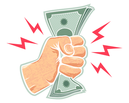 Vector retro illustration of a fist with money. Hand and money.