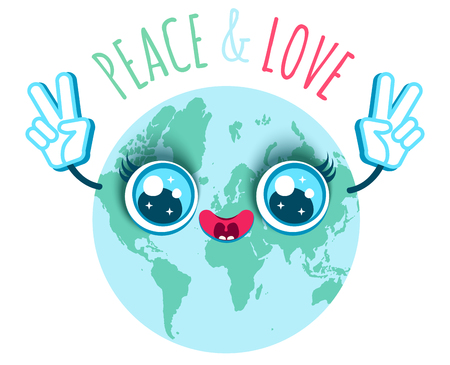 Vector illustration of a planet Earth in kawaii style. Planet Earth with Peace symbol. Peace and love.