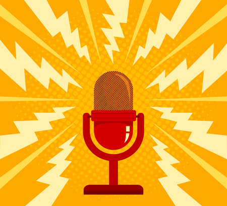 Vintage vector illustration of retro red microphone and loud sound. Microphone on yellow halftone background Illustration
