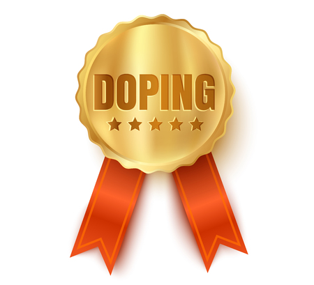 Vector golden medal with doping. Golden medal template with text Doping. Illustration