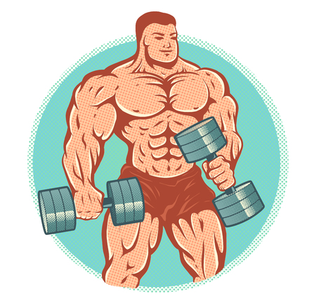 Illustration of a bodybuilder with dumbbells.
