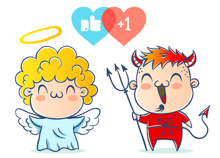 Angel and devil. Good and bad. Children are in costumes angel and devil.