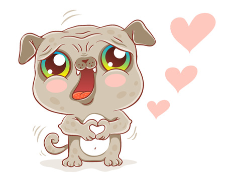 Vector illustration of a cute pug in kawaii style. Cute dog with hearts