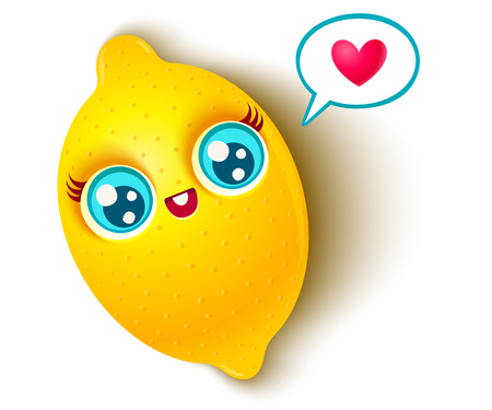 Vector illustration of a cute lemon and bubble with heart. lemon on white background. Illustration