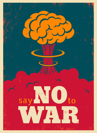 Vector vintage poster, Say no to war. Pacific vintage military poster. Çizim