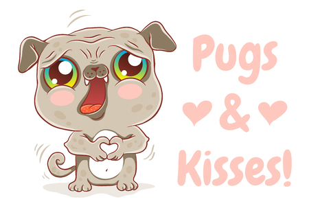 Vector illustration of a cute pug in kawaii style. Cute dog with hearts. Pugs and kisses. Stock Illustratie