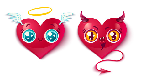 Vector devil and angel hearts. Two cute hearts for Valentines day in kawaii style. Bad and good hearts.